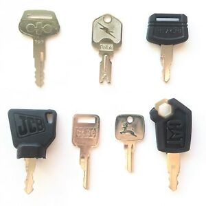 7-pc-OEM-Logo-Heavy-Equipment-Key-Set-CAT-Case-Deere-Hitachi-JCB-Pollak-Komatsu