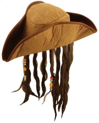 NATALE Adulti Caraibi Pirata Cappello con capelli /& Perline Marrone Stag Do/'s Hen Night