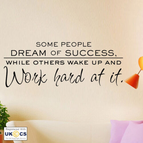 Wall Stickers Dream Success Work Bedroom Office Gym Art Decals Vinyl Home Room
