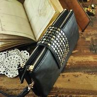 Fashion Ladies Black Rivet Stud Handbag PU Leather Clutch Purse Wallet Card Bag