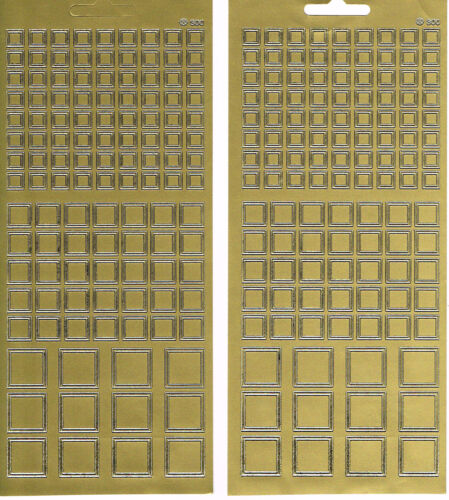 2 SHEETS GOLD SQUARES  PEEL OFF STICKERS SQUARES