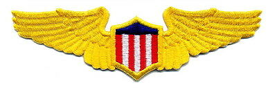PILOTS WINGS Aviation Aircraft Airplane Yellow Gold Emblem Patch Applique Lg. M