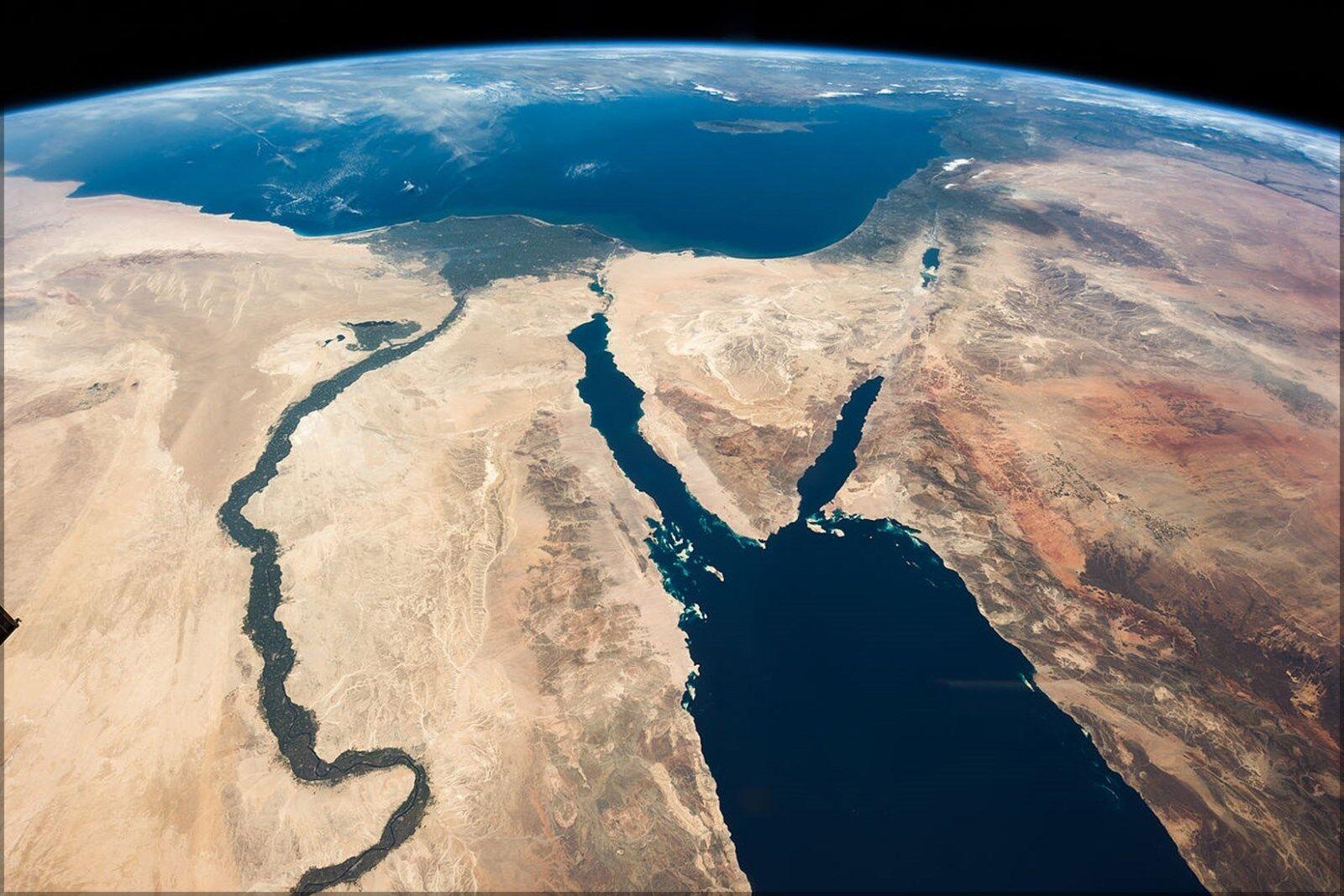 Poster, Molte Sinai Misure; Nile Fiume Egitto Sinai Molte Peninsula Israele Satellitare cc1b93