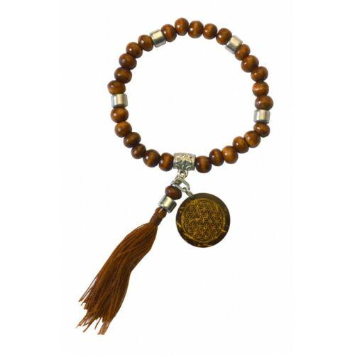 """Tikra /""""Blume des Lebens/""""  Holz braun mit 27 Perlen elastisch Ø 6cm"""