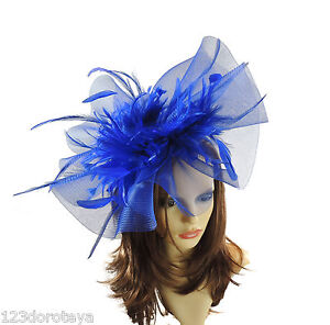 Image is loading Royal-Blue-Fascinator-Hat-for-weddings-ascot-proms- 78aa6be3e66