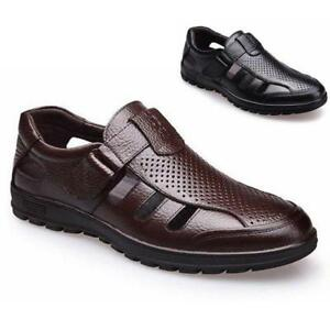 Mens Leather Closed Toe Fisherman Sandals Beach Outdoor Business Casual Shoes
