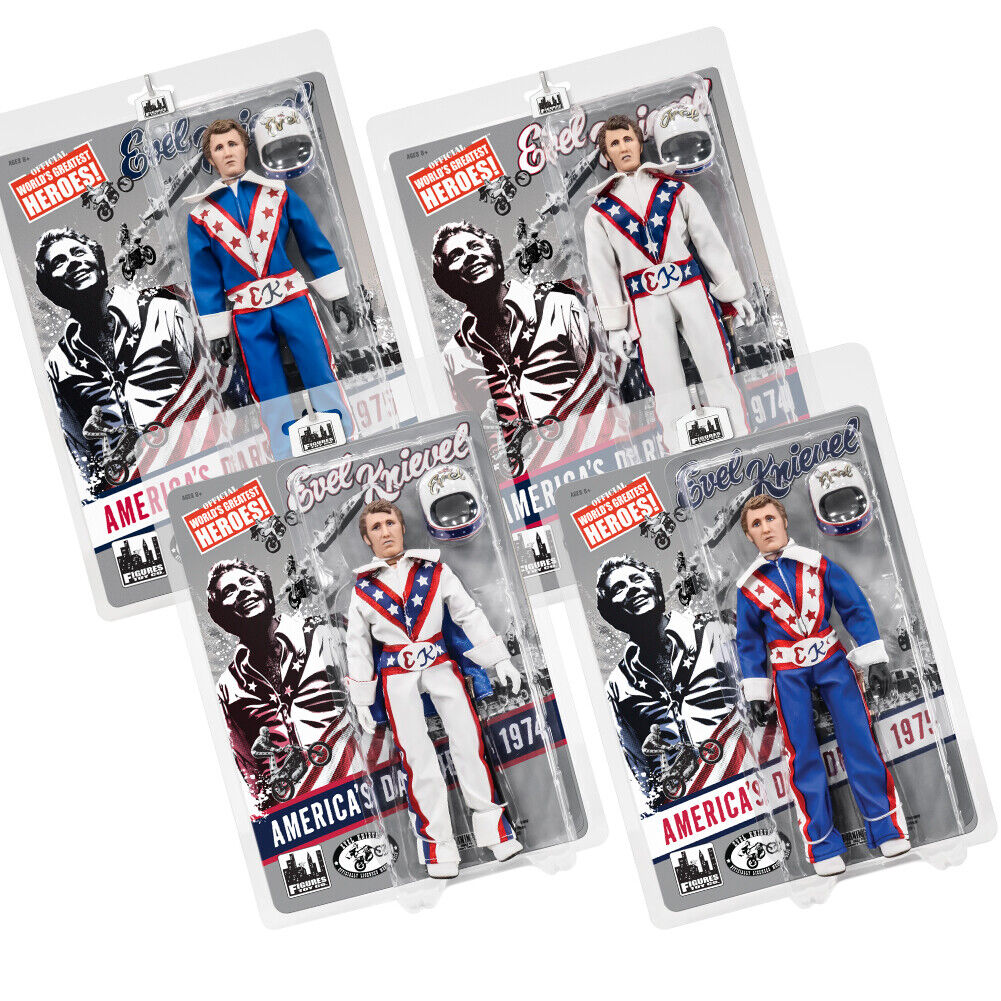 Evel Knievel 8 & 12 Inch Action Figures Series 1 Re-Issue   Set of all 4