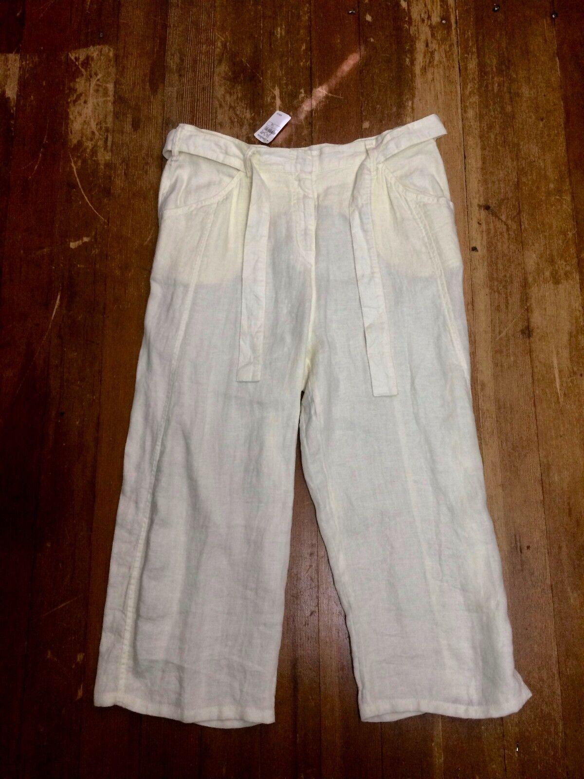 NWT  395 Giorgio Armani 14 Cream Linen Capri Pants Trousers Slacks Neiman Marcus