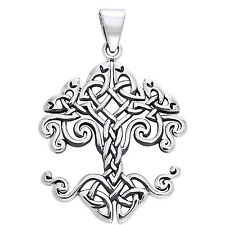 "Large Celtic Knot Tree of Life Sterling Silver Pendant 18"" Chain Necklace"