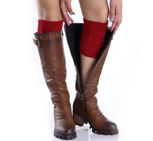 Womens Crochet Boot Cuffs NEW Knit Toppers Boot Socks Leg Warmers Winter BT//UK