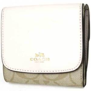 f81b2a6ec097 NWT Authentic Coach F53837 Small Wallet Signature PVC Leather Chalk ...