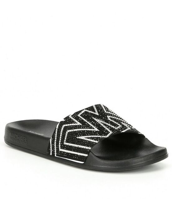 Michael Kors Gilmore Black/White Micro-Suede Crystal Slides Women's Size 10
