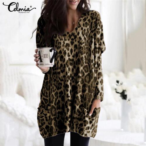 Womens Long Sleeve Tunic Top Tee Shirt Mini Dress Plus Size Leopard Print Blouse