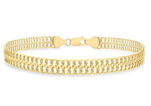 9ct Yellow Gold Figure 8 Double Curb Chain Bracelet 19cm 7.5 inch