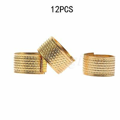 12pcs Sewing Thimbles Metal Finger Ring Shield Grip Protector Guard Gold Color
