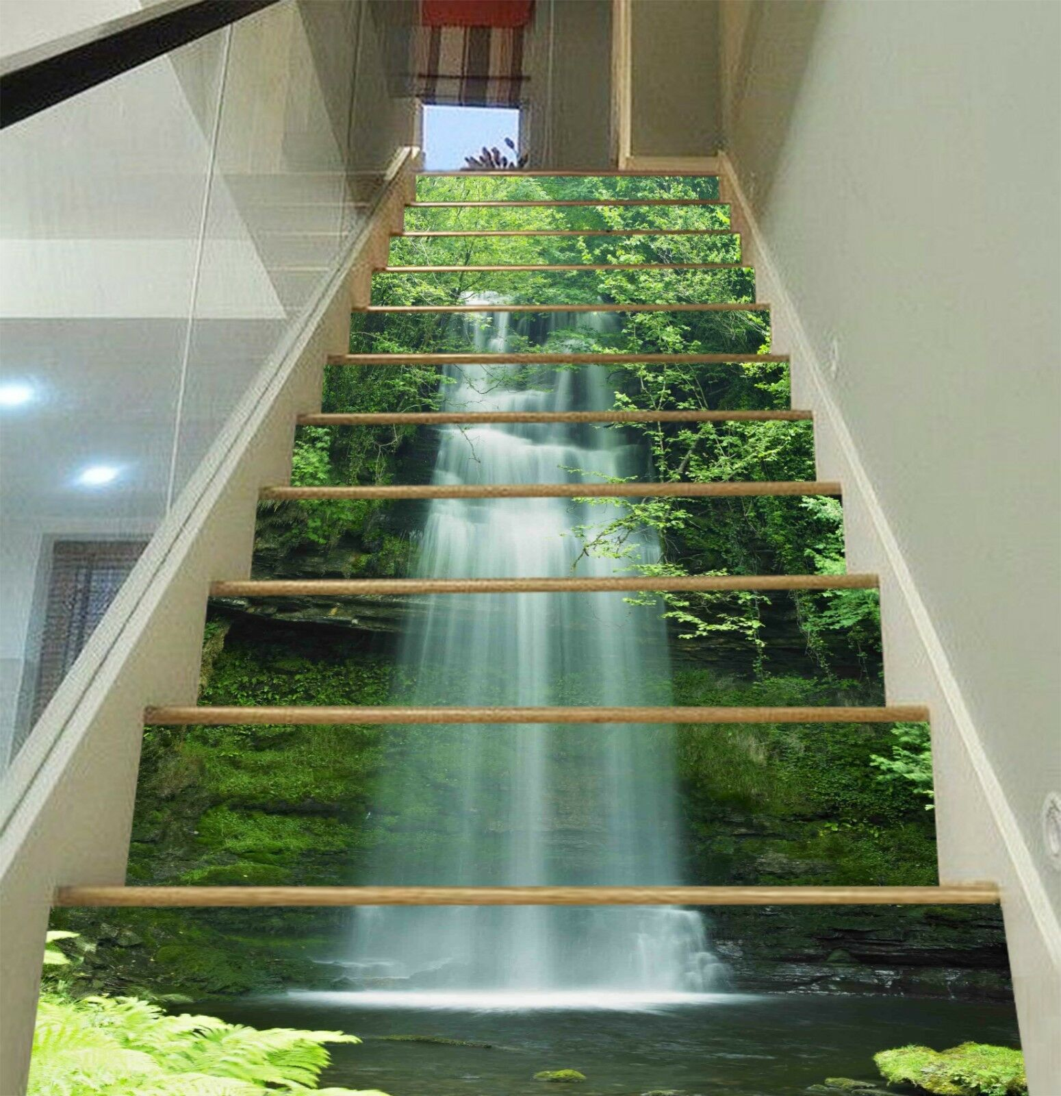 3D Forest Stream 3 Stair Risers Decoration Photo Mural Vinyl Decal Wallpaper CA