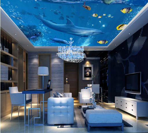 3D Dolphin 68 Ceiling WallPaper Murals Wall Print Decal AJ WALLPAPER US