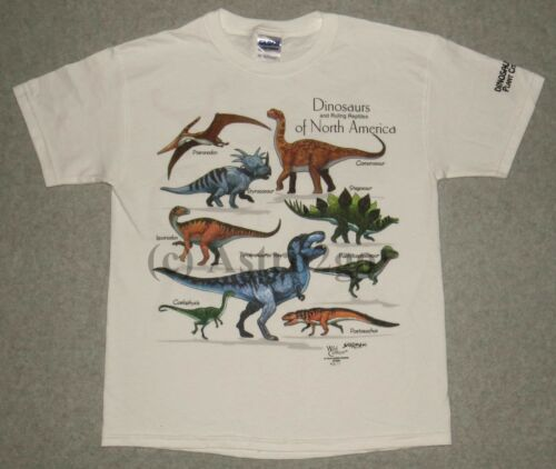Md DINOSAURS OF NORTH AMERICA--T Rex Reptiles 2 Sided Kids T shirt sizes Sm Lg