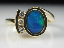 14K Black Opal Diamond Ring Yellow Gold Fine Jewelry genuine Cabochon Bezel
