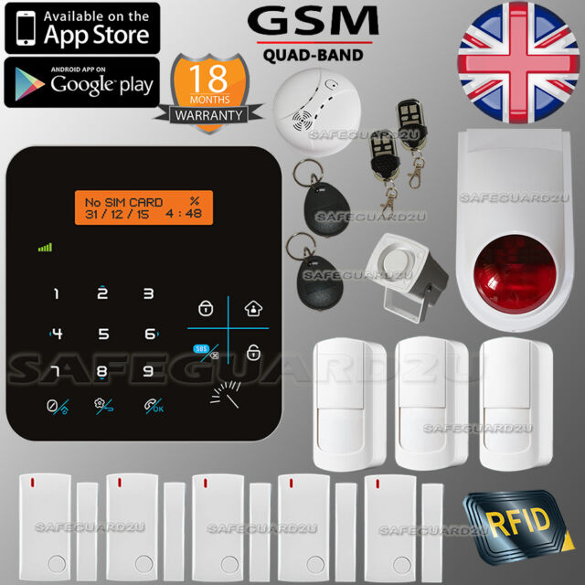 WIRELESS SECURIT LCD GSM AUTODIAL HOUSE HOME OFFICE  BURGLAR INTRUDER RFID ALARM