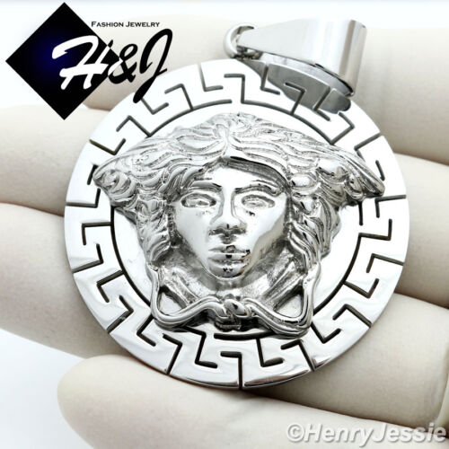 MEN Stainless Steel HEAVY Silver 3D Head Round Charm Pendant*SP69