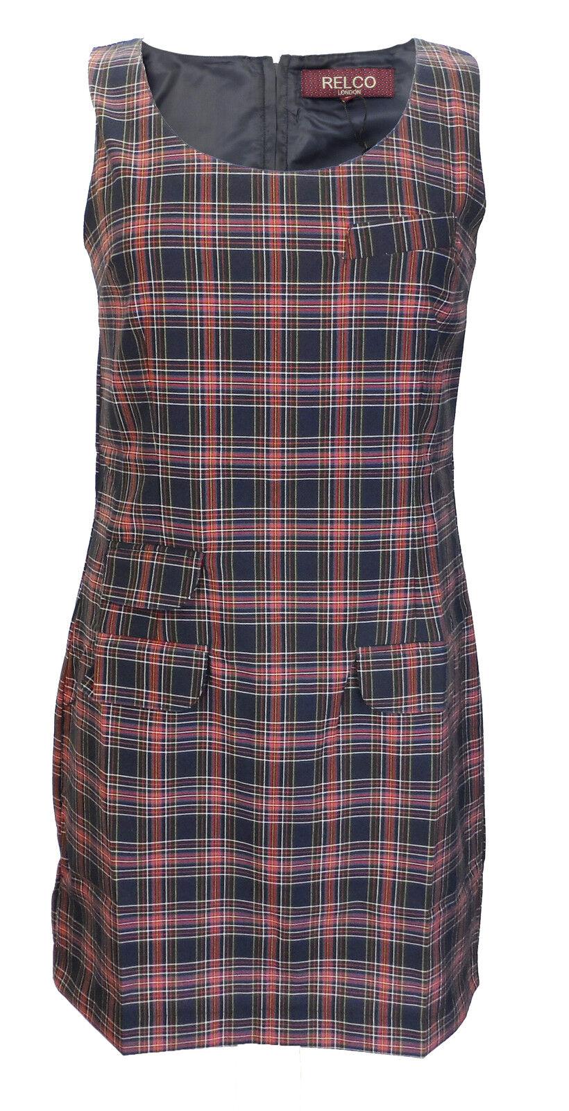 Damen Retro-Modern Marineblau Rot Schottenkaro Kinderkittel Tunika Kleid