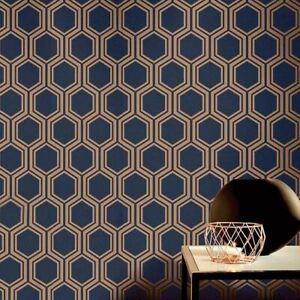Details About Arthouse Luxe Hexagon Geometric Wallpaper Navy Blue Gold Metallic Textured