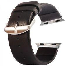 Echtleder Leder Armband Schwarz für Apple Watch Lederarmband 42mm iWatch Zubehör