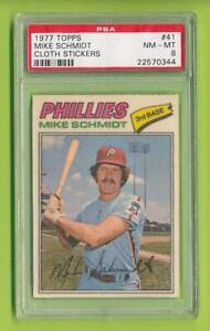 1977-Topps-Cloth-Sticker-Mike-Schmidt-41-Philadelphia-Phillies-PSA-8