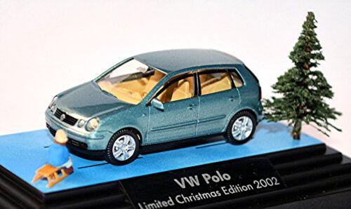 VW Polo 4 Type 9n Fünftürer 2001-05 Bleu Blue Metallic 1:87 Wiking modèle publicitaire