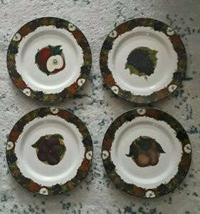 NEW-Set-of-4-Lancheon-Plates-Dansk-Cornucopia-Dinnarware-Fruit-Pattern-Portugal