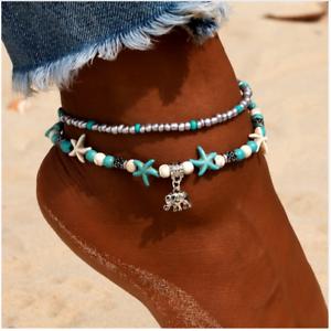 Honest Fußkette Seestern & Elefant Silber Blau Perlen Fußkettchen Fußschmuck Sommer Neu Numerous In Variety Fine Anklets