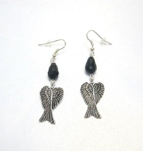 Broken Fairy wing earrings black teardrop crystals Maleficent gothic fairy tale