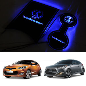 LED Cup holder inside Console Plate Blue For Hyundai IONIQ 2017~2020