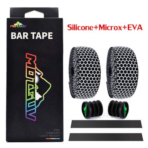 Road Bicycle Cycling Handlebar Wrap Bar Tape Bandage Belt W// End Stopper Cap New