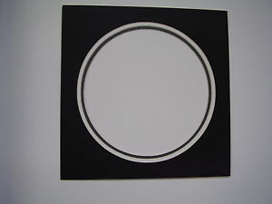 Picture Frame Mat Circle Black With White And Gray Liners