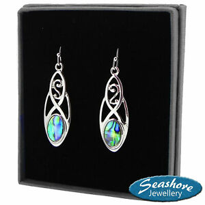 Celtic-Earrings-Paua-Abalone-Shell-Womens-Silver-Fashion-Jewellery-32mm-Drop