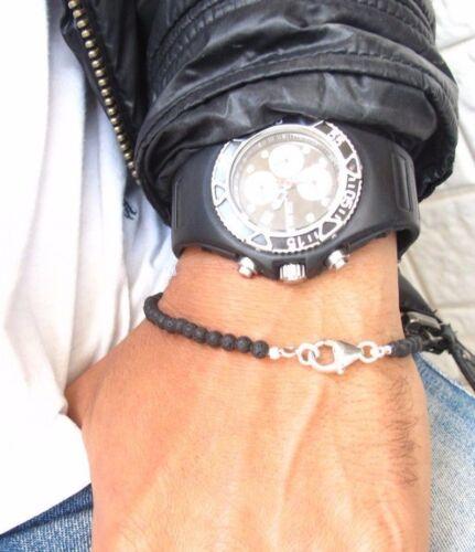 Lava Perles Noir Bracelet Argent Sterling 925 Perles ronde Gem Bracelet Pierre Nouveau