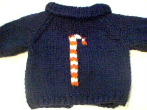 Christmas Candy Cane Sweater Handmade for Cabbage Patch Kid Doll Made in USA