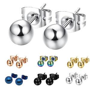 Image Is Loading 1 Pair Uni Stainless Steel Stud Earrings Women