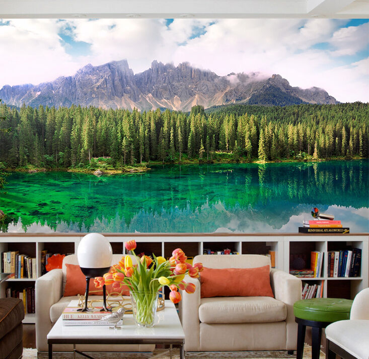 3D Mountain Forest Lake 312 Paper Wall Print Wall Decal Wall Deco Indoor Murals