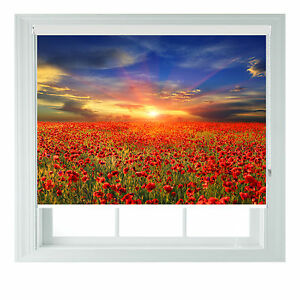 Poppy Fields themed blackout roller blind for Kitchen ...
