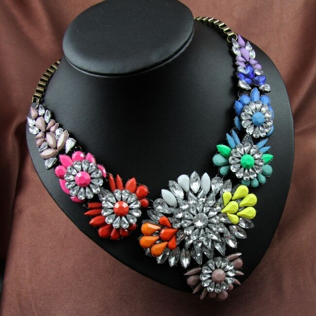 Collar Gruesa Flor Multicolor yellow orange Moderno Original Matrimonio SRK 1