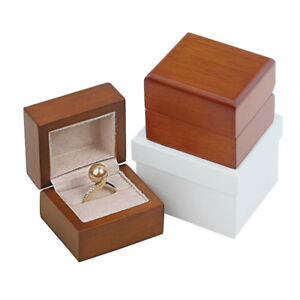 Satin Matte Wood Solid Wood Ring Jewelry Box Display Your Engagement