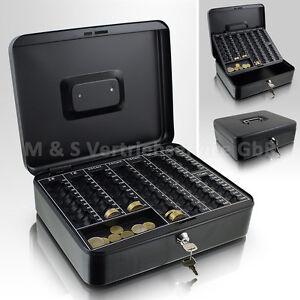 30cm-schwarz-Geldkassette-Muenzkassette-Zaehlkassette-Transportkassette-Kasse-Safe
