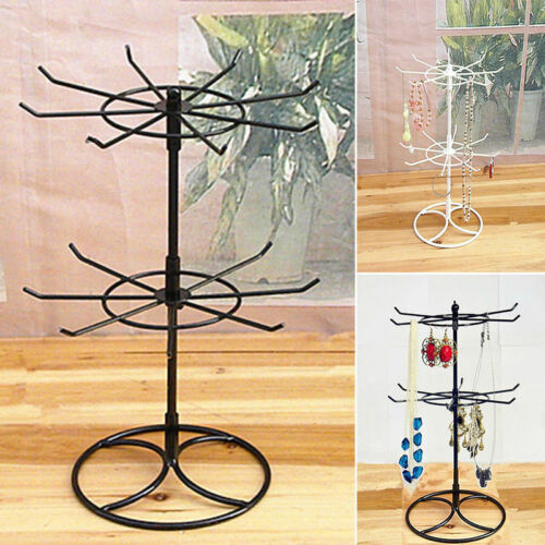 Double Tier Iron Rotating Jewelry Stand Necklace Display Holder Earring Rack UK