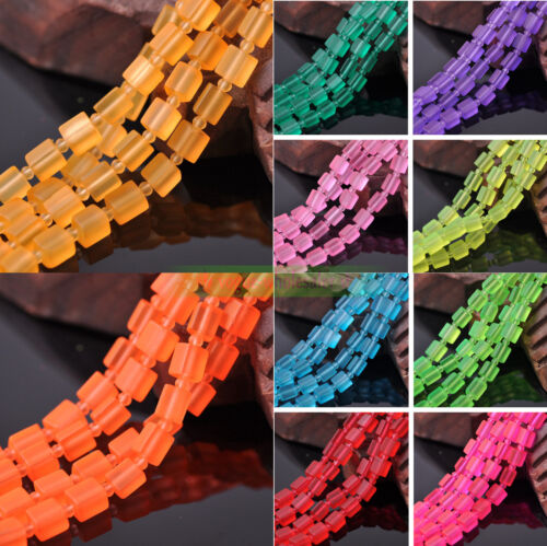 """31/"""" 6.5x8mm Faceted Square Cube Jelly Glass Crystal Loose Spacer Beads Findings"""