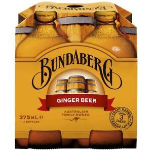 4Pk Bundaberg Australian Family Owned Craft Brewed Ginger Beer Bottles 375mL
