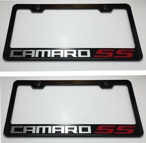 2X Z28 CAMARO Chevy Stainless Steel Black License Plate Frame Rust Free