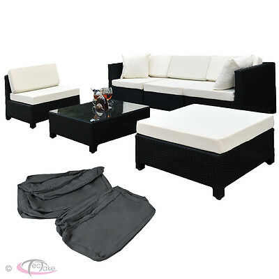 Luxury Rattan Aluminium Garden Furniture Sofa Set Outdoor Wicker black